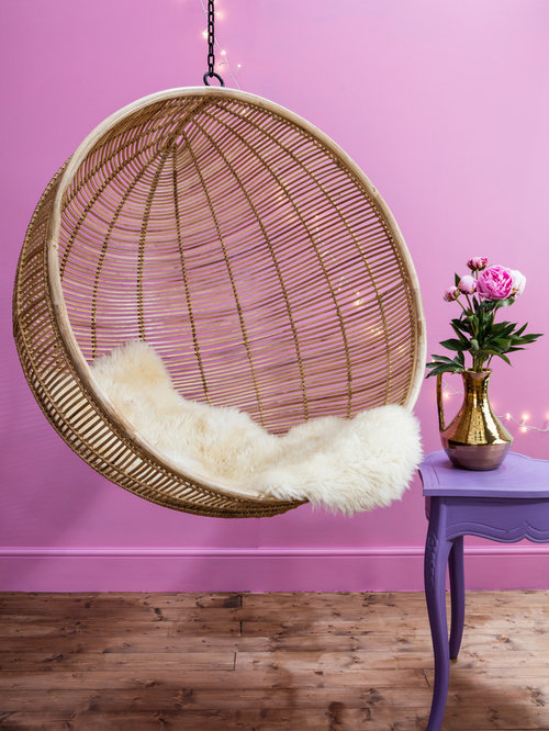 Elsa Hanging Rattan Bowl Chair In Natural   Hanging Chairs