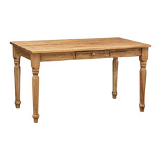 Country Dining Table With Drawer, Natural