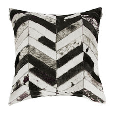 "Torino Chevron Pillow, Black/Natural, 18""x18"""