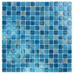 "artistryinmosaics - 12.88""x12.88"" Glass Tile Blends Venetian Series, Blue Copper Blend - The x12 Glass Mosaic Tile features a grid pattern in shades of sky blue with attractive copper accenting. The glass tile measures 12.88 by 12.88 inches and is frost-proof, allowing for placement outside. Bring a vibrant look to your shower or swimming pool with this modern tile."