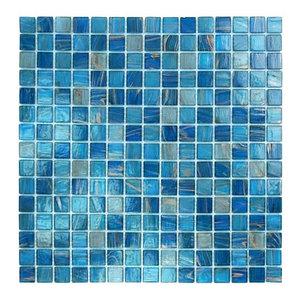 "12.88""x12.88"" Glass Tile Blends Venetian Series, Blue Copper Blend"