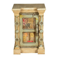 Sierra Living Concepts - Pop Art Paris Mango Wood Rustic Nightstand Cabinet - Nightstands and Bedside Tables