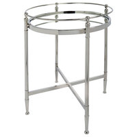 Gaskin Polished Nickel Side Table With Mirror Glass, Round