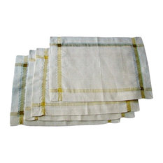 Ivory and Gold Handcrafted Sustainable Linen Placemats, Set of 4