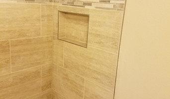 grey porcelain bathroom remodel