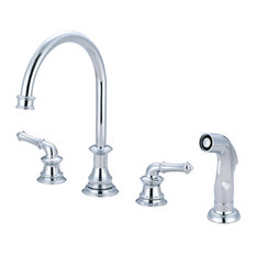 Just Chrome Two Handle Kitchen Widespread Faucet With Spray