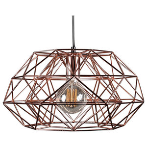 Metal Dual Cage Pendant Light, Copper and Black