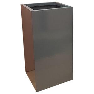 Glossy Grey Tower Fibreglass Planter, 30x30x60 cm