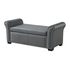 Veber PU Leather Nailhead Trim Storage Ottoman Bench, Gray