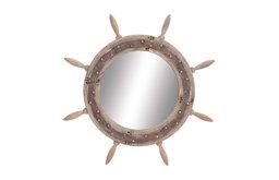 Wood Ship Wheel Mirror