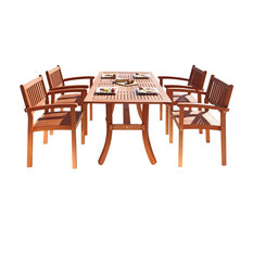 Malibu Eco-Friendly 5-Piece Wood Outdoor Dining Set with Rectangular Cur