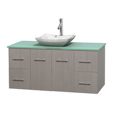 48 in. Single Bathroom Vanity in Gray Oak, Green Glass Countertop, Avalon White