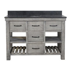 Rustic Fir Single Sink Vanity Gray Driftwood With Limestone Top 48-inch