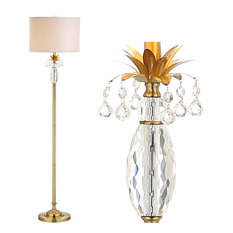 """Adalyn 61"""" Crystal and Metal Floor Lamp, Clear and Brass Gold"""