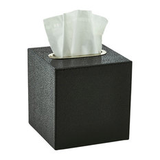 Faux Shagreen Bath Accessory Set, Black, Tissue Box