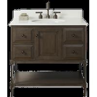 "Fairmont Designs Toledo 36"" Single Vanity Driftwood Gray 2cm White Marble"