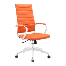 Modway   Modern Contemporary Highback Office Chair, Orange Faux Leather   Office  Chairs