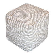 GDF Studio Maja Handcrafted Boho Fabric Cube Pouf, Ivory, Beige