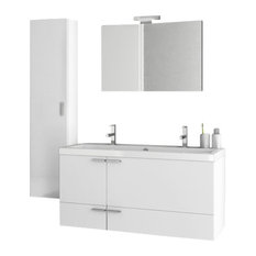 "47"" Glossy White Bathroom Vanity Set"