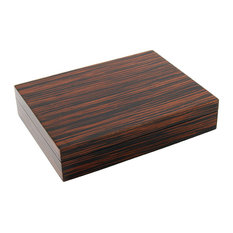 Lacquer Long Stationery Box Box, Macassar Ebony