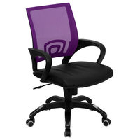 Mid-Back Mesh Swivel Task Chair With Leather Padded Seat