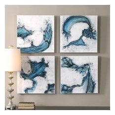 "Uttermost ""Swirls in Blue"" 4-Piece Abstract Art, 20""x20"""