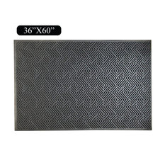 "Maze Design Natural Rubber 36""x60"" Scraper Doormat, Tapered Edges"