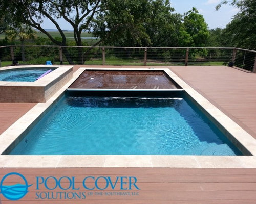 Wood Deck Automatic Pool Cover And Spa Cover