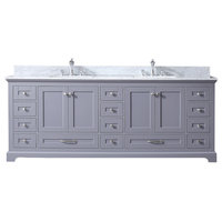 "Dukes 84"" Dark Grey Double Vanity, Carrara Marble Top, Square Sinks & no Mirror"