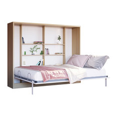 Spazio Full Size Wall Bed, Semi-Gloss White and Light Wood