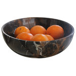 Marble Products International - King Gold Marble Fruit Bowl - MPI bring you the King Gold Marble Fruit Bowl that is perfect for displaying anything from fruit to potpourri. This attractive bowl is made from solid natural marble streaked with black, white, and gold veins. Sophisticated enough for entertaining yet sturdy enough for everyday life in the kitchen. This bowl is hand crafted and one of a kind, with no two looking just alike.
