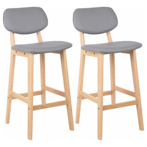 Set of 2 Bar Stool Upholstered, Faux Leather With Backrest and Footrest, Grey