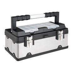 Costway 18 Inch Tool Box Stainless Steel and Plastic Portable Organizer w/ Lid
