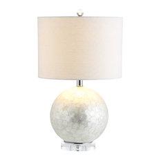 """Zuri 23.5"""" Capiz Seashell Sphere Base, Pearl and White"""