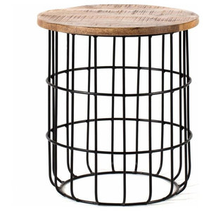 Contemporary Side End Table with Black Metal Wire Frame and Mango Wood Top