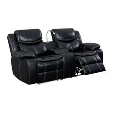 Furniture Of America Stanton Faux Leather Power Reclining Loveseat In Black
