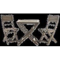 GDF Studio 3-Piece Versaille Outdoor Foldable Gray Acacia Wood Bistro Set, Gray