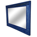 """Renewed Decor - Island Water Stain Herringbone Style Vanity Mirror, 42""""x30"""" - Give any room in your home charm with this handmade reclaimed styled wood mirror. The wood has been given new life sanded and restored. It now it deserves a place to rest holding a mirror for your family and friends to enjoy for years to come."""