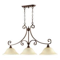 Three Light Oiled Bronze Amber Scavo Glass Island Light