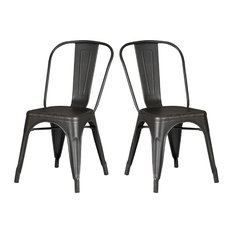 Distressed Black Metal Dining Room Kitchen Bar Chair, Set of 2