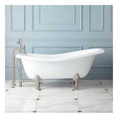 """Signature Hardware 905720-67 Manhattan 67"""" Cast Iron Clawfoot Tub with No Fauce"""