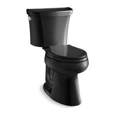 Kohler Highline 2-Piece Elongated Dual-Flush Toilet w/ Left-Hand Lever, Black