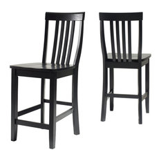 """School House Bar Stools With 24"""" Seat Height, Set of 2, Black"""