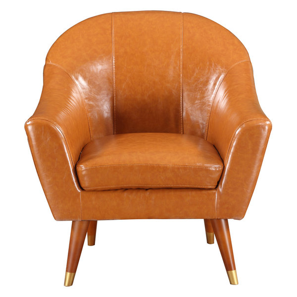 Mid Century Modern Bonded Leather Living Room Accent Chair, Camel