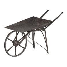 Vintage Iron Wheelbarrow In Charcoal Gray