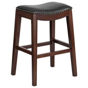 Romboss Saddle Seat 30 Bar Stool Natural And Black Industrial Bar Stools And Counter Stools By Madeleine Home Inc Houzz