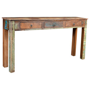 VidaXL Reclaimed Wood Side Table With 3 Drawers