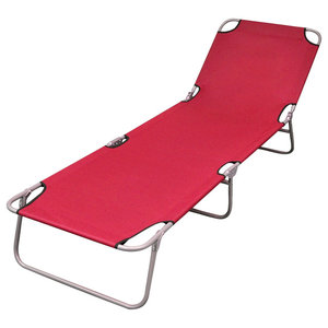 Foldable Sun Lounger With Adjustable Backrest, Red