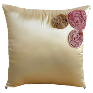 Tissue Flowers 35x35 Poly Satin Cream Throw Cushions Cover, Dreamy Roses