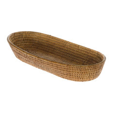 KOUBOO - La Jolla Rattan Bread Basket, Large, Honey-Brown - Specialty Serveware